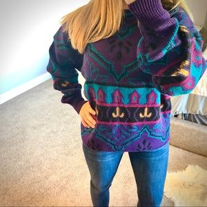 Vintage Grandpa Oversize Chunky Knit Design Sweatr